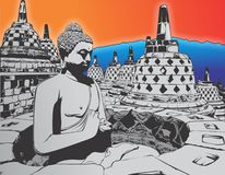 BOROBUDUR in de vector van de Lijnkunst vector illustratie