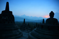 Borobudur at Dusk, Java, Indonesia Stock Images
