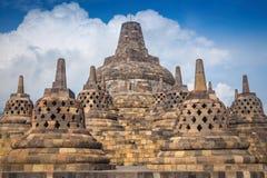 Borobudur is een Boeddhistische Tempel van negende-eeuwmahayana Stock Foto