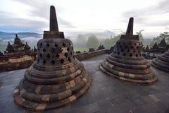 Borobudur, een de 9de eeuw Boeddhistische Tempel in Magelang, Centraal Java, Indonesië Stock Afbeeldingen
