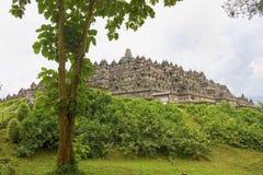 Borobudur från markplanet, Java, Indonesien Royaltyfri Bild