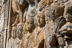 Borobudur Gesichter lizenzfreie stockbilder