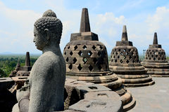 Borobudur in Indonesia. Buddha statue in Borobudur, highlight of Borobudur in Indonesia Stock Image