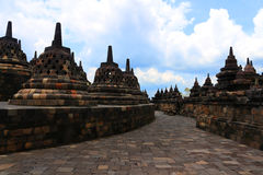 Borobudur in Indonesia. Stupas in Borobudur in Indonesia royalty free stock photos