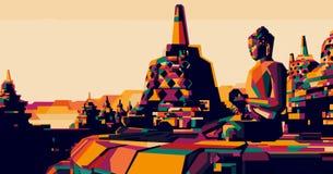 Borobudur, Indonesia vector illustration