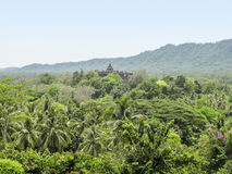 Borobudur in Java. Distant view of a temple named Borobudur located in Java, a island of Indonesia Stock Images