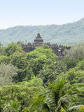 Borobudur in Java. Distant view of a temple named Borobudur located in Java, a island of Indonesia Royalty Free Stock Image