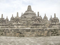 Borobudur in Java. Lots of stupas at a temple named Borobudur located in Java, a island of Indonesia Stock Photo