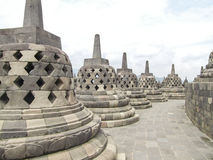 Borobudur in Java. Lots of stupas at a temple named Borobudur located in Java, a island of Indonesia Stock Image