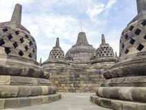 Borobudur in Java. Lots of stupas at a temple named Borobudur located in Java, a island of Indonesia Stock Images
