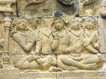 Borobudur in Java. Relief detail at a temple named Borobudur located in Java, a island of Indonesia Stock Image