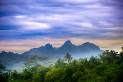 Borobudur mountains hill indonesia forest stock photos