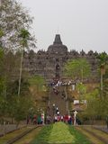 Borobudur na cidade de Yogyakarta Curso em Indonésia 8 de outubro fotografia de stock royalty free