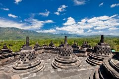 Borobudur old buddhist temple in Yogyakarta, Java, Royalty Free Stock Photos
