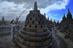Borobudur preoccupantesi Immagini Stock Libere da Diritti