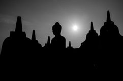 Borobudur Silhouettes Royalty Free Stock Photo
