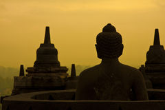 Borobudur at sunrise. Royalty Free Stock Photo