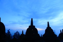 Borobudur in sunrise. Shilouete of borobudur tample in indonesia royalty free stock photos