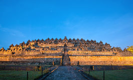 Borobudur Sunrise Indonesia. Borobudur Temple Morning before Sunrise with Star Trail in Yogyakarta, Java, Indonesia Royalty Free Stock Photos