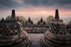 Borobudur at sunrise Stock Images
