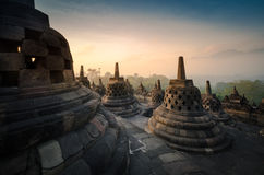 Borobudur at sunrise Royalty Free Stock Photography