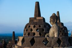 Borobudur tempel på dagtid Yogyakarta Java Indonesia Arkivfoto