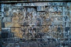 Borobudur tempellättnad, på den Borobudur tempelMagelang centralen Java Indonesia Royaltyfri Fotografi