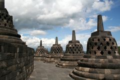 Borobudur Temple. Ancient Buddhist Temple, Stupas in Borobudur, Yogjakarta, Indonesia Stock Photo