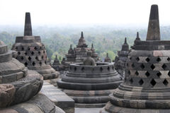Borobudur temple architecture indonesia. Detail of  borobudur temple ruins near yogyakarta in java indonesia, a 9th century Mahayana Buddhist monument abandoned Stock Photography