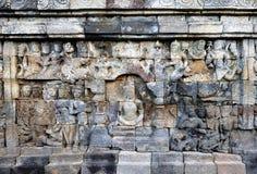 Borobudur Temple Carving Arts. Ancient Borobudur Buddhist Temple, East Java, Indonesia Stock Photography
