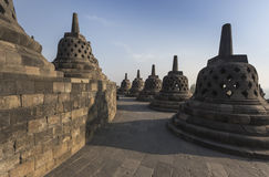 Borobudur temple complex on the island of Java in Indonesia. In the morning at sunrise Royalty Free Stock Image