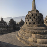 Borobudur temple complex on the island of Java in Indonesia. In the morning at sunrise Royalty Free Stock Photos
