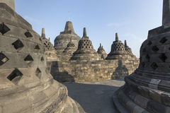 Borobudur temple complex on the island of Java in Indonesia Royalty Free Stock Images