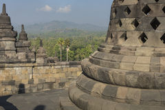Borobudur temple complex on the island of Java in Indonesia in t Stock Images