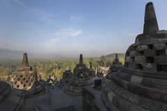 Borobudur temple complex on the island of Java in Indonesia in t Royalty Free Stock Photo