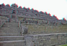 Borobudur Temple In Stereo Stock Photography