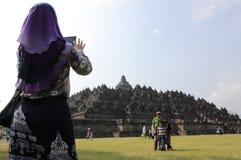Borobudur Temple tourists Indonesia Stock Images