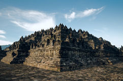 Borobudur. Temple morning with blue sky and cloud. Indonesia Royalty Free Stock Photo