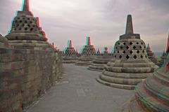 Borobudur Temple in stereo. Borobudur Temple.Java.Indonesia. Anaglyph stereo.(you need use cyan/red glasses to take 3d effect royalty free stock image