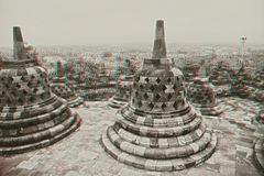 Borobudur Temple in stereo Stock Photos