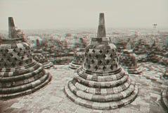 Borobudur Temple in stereo stock photos