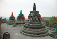 Borobudur Temple in stereo Royalty Free Stock Photography