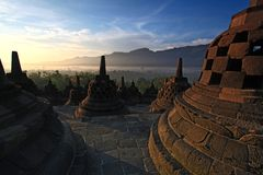 Borobudur Temple Stupa Indonesia. Sunrise Borobudur Temple Stupa in Yogyakarta, Java, Indonesia Stock Photography