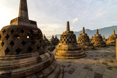 Borobudur temple stupa row in Indonesia Royalty Free Stock Images