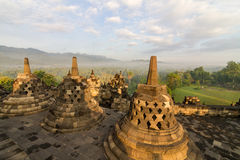 Borobudur temple stupa row in Indonesia Stock Photos