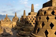 Borobudur temple stupa row in Indonesia Stock Images