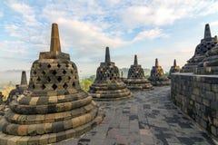 Borobudur temple stupa row in Indonesia Stock Photo