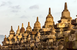 Borobudur temple stupa row in Indonesia Royalty Free Stock Photos