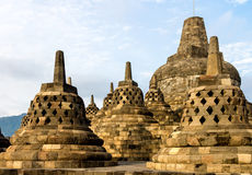 Borobudur temple stupas, Java island, Indonesia Stock Photo