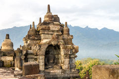Borobudur temple in sunrise fog, Java, Indonesia Stock Images